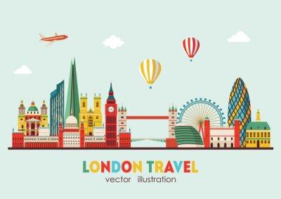 Naklejka London Skyline streszczenie. Ilustracji wektorowych - wektor czas