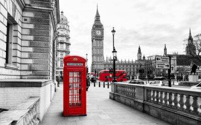 Naklejka London Telefon Booth i Big Ben