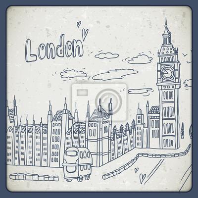 Londyn doodle rysunek krajobraz w stylu vintage