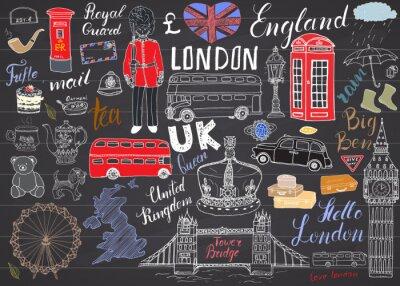 Naklejka Londyn elementy doodles miejskie kolekcji. Ręcznie rysowane zestaw z, Tower Bridge, korona, Big Ben, straży królewskiej, czerwonym autobusem, Wielkiej Brytanii mapie i flagi, Dzbanek do herbaty, napis