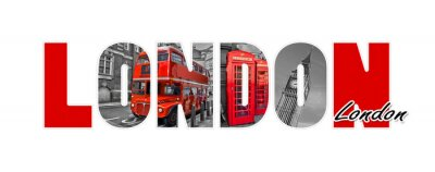Naklejka Londyn litery, samodzielnie na białym tle, podróży i turystyki w koncepcji Wielkiej Brytanii