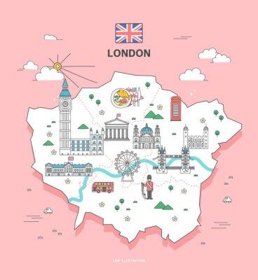 Naklejka Londyn Travel Landmark Collection