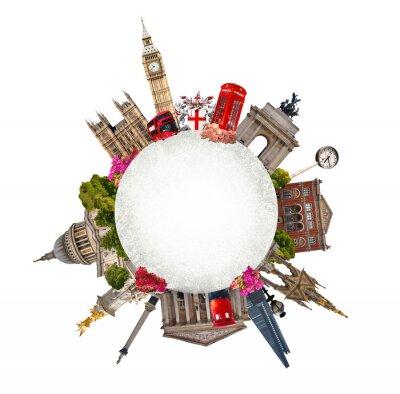 Naklejka Londyn. Turystyczny i biznesowy kolaż, słynnych londyńskich budynków przeciwko białym tłem