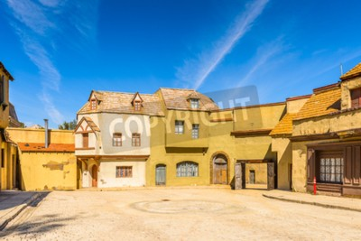 Naklejka LOS ANGELES, USA - SEP 27, 2015: Medieval buildings for the Moster movies at the Hollywood Universal Studios. Universal Pictures Inc was created on June 10, 1912