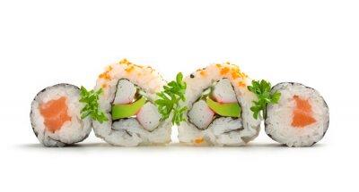 Naklejka łososia sushi maki i california rolls