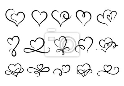 Naklejka Love hearts flourish. Heart shape flourishes, ornate hand drawn romantic hearts and valentines day symbol. February 14 greeting card logo, valentine line sketch sign. Isolated vector icons set