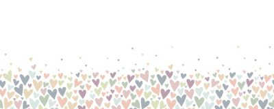 Naklejka Lovely hand drawn doodle hearts seamless pattern, pastel colored hand drawn background, great for Valentine's or Mother's Day, textiles, banners, wrapping, wallpapers - vector design