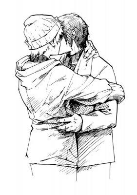 Loving Para całuje. Tusz graficzny szkic ludzi, rysowane ręcznie.