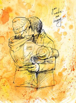 Loving Para całuje. Tusz ilustracja na tle Akwarele.