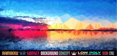 Naklejka Low Poly tSea Sunset Art background for your polygonal flyer