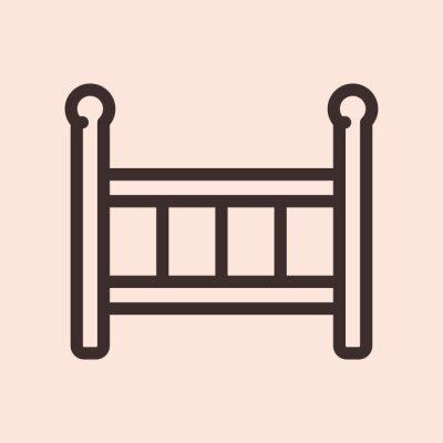 Łóżeczko dziecięce łóżko minimalistyczna płaska linia obrysu ikona piktogram symbol
