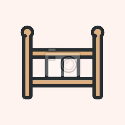 Łóżeczko dziecięce łóżko minimalistyczny płaski kolor linii obrysu ikona piktogram symbol