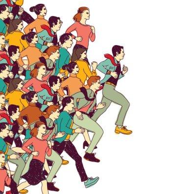 Naklejka Ludzie biznesu duża grupa kolorów konkurencji