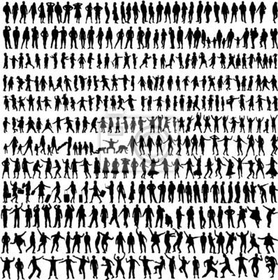 Naklejka Ludzie Mix Silhouettes, wektor pracy