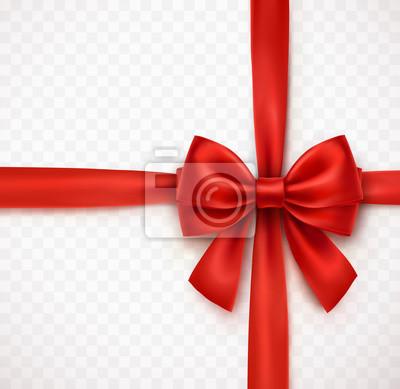 Łuk na przezroczystym tle. Wektor czerwona wstążka satynowa Boże Narodzenie z cienia, szablon elementu xmas zawijania.