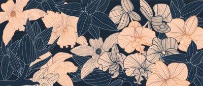 Naklejka Luxury elegant orchids floral line arts pattern and black background. Topical flower wallpaper design, Fabric, surface design. Vector illustration.