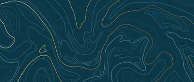 Naklejka Luxury gold abstract line art background vector.  Mountain topographic map background with golden lines  texture, 17:9 wallpaper design for wall arts, fabric , packaging , web, banner, app, wallpaper.