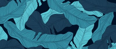 Naklejka Luxury nature green background vector. Floral pattern, Banana leaf, Tropical plant line arts, Vector illustration.