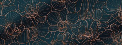 Naklejka Luxury Orchid wallpaper design vector. Tropical pattern design,Blossom floral,  Blooming realistic isolated flowers. Hand drawn. Vector illustration.