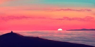 Lwy oglądając zachód słońca nad oceanem / ilustracja malowanie