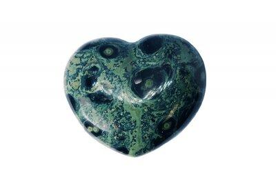 Naklejka Macro mineral stone jasper kambaba, heart shaped on white background, close up.
