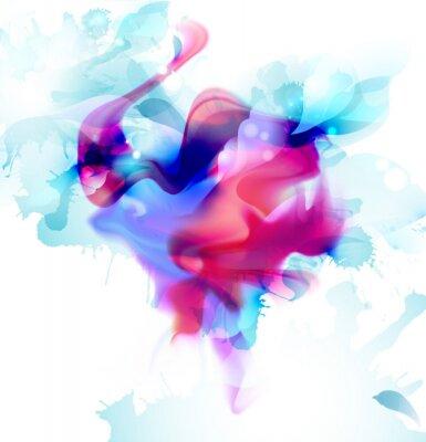 Magenta i niebieski kolorowy blot fantasy rozprzestrzenił się na jasnym tle. Streszczenie wektor skład dla jasnego projektu.