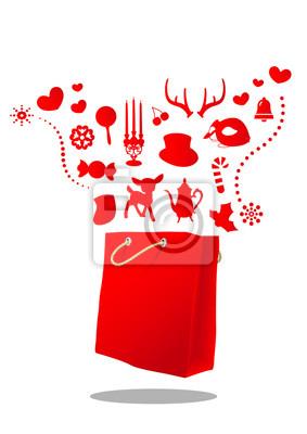 Magiczne Boże Narodzenie czerwony worek ilustracji wektorowych