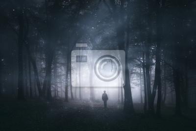 magiczny las, tajemniczy krajobraz z sylwetką mężczyzny w ciemnym lesie