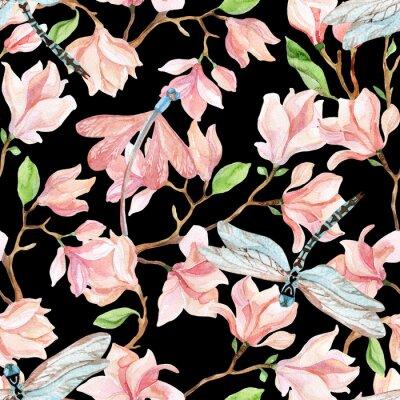 Naklejka magnolia akwarela gałęzie i ważka