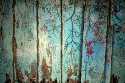 Naklejka Magnolia wiosną starym tle