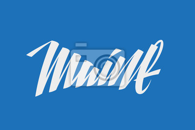 Maine City USA Państwo Słowo Logo Nazwa Ręcznie malowane Szczotka Szablon Logo Kaligrafii