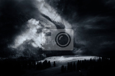 majestic nature scene, dramatic clouds over dark landscape, fantasy background