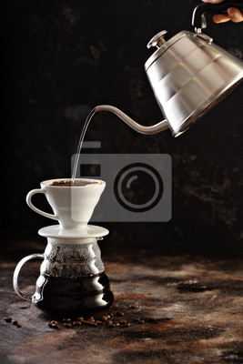 Naklejka Making pour over coffee