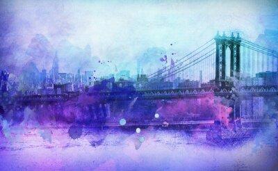 Naklejka Malarski Widok NYC Manhattan Bridge i rzeki