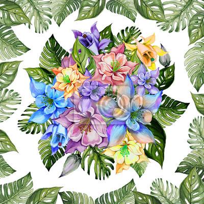 Malarstwo akwarelowe. Tropikalny kwiatowy wzór.