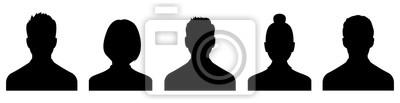 Naklejka Male and female head silhouettes avatar, profile icons. Vector