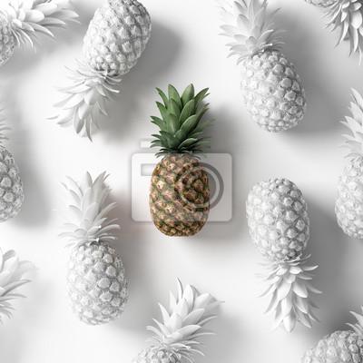 Malowana koncepcja ananasa. Wegańskie tło