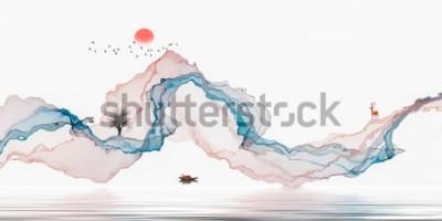 Naklejka Malowanie tuszem, artystyczny krajobraz, abstrakcyjne linie tła