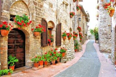 Naklejka Malowniczy pas z kwiatami we włoskim wzgórzu miasta