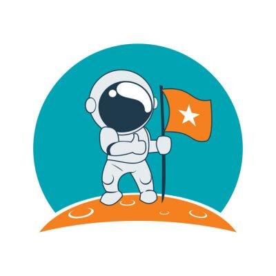 Naklejka Mały Astronauta Sukces na Księżycu Mission Cartoon