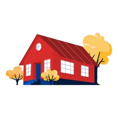 Mały śliczny czerwony dom z drzewami wokoło