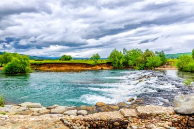 Naklejka Mały strumień i wodospad w przyrodę