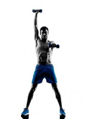 Naklejka man exercising fitness weights silhouette