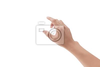 Naklejka man hand touching something on white background