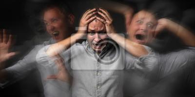 Naklejka Man having panic attack on dark background