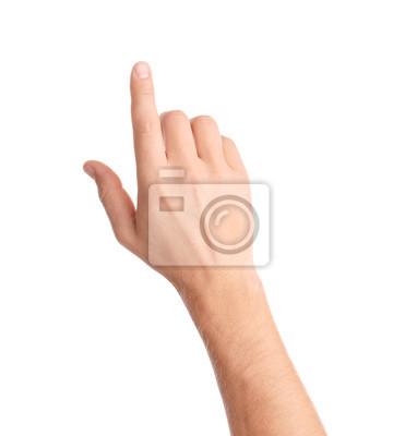 Naklejka Man pointing at something on white background, closeup of hand