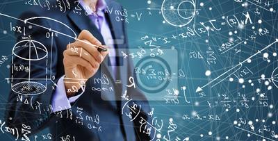 Naklejka Man writing math formulas on the screen