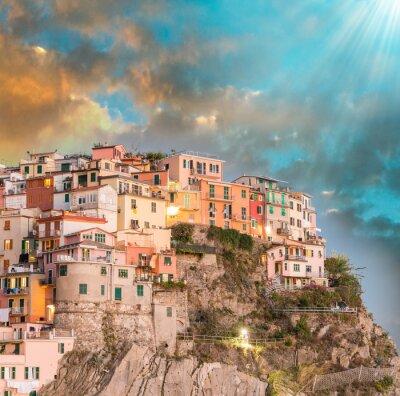 Naklejka Manarola, Cinque Terre. Zachód słońca nad Cinque Terre, Włochy