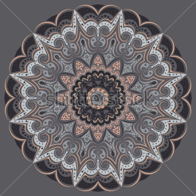 Naklejka Mandala - in gray colors of different shades. Interior in loft style, brutal style. Geometric style, strict lines, interesting fashionable design.