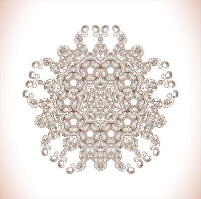 Naklejka Mandala. Okrągły wzór. Streszczenie wzór elegancji. Ręcznie rysowane